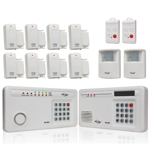 Skylink SC-2200 Wireless Security System with Emergency Dialer, 2 Motion Sensors, 2 Keyfobs and 8 Window and Door Sensors