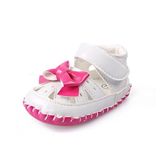 Janly Baby Mädchen Leder Bowtie Sandalen Schuhe Kleinkind Ersten Wanderer Rosa