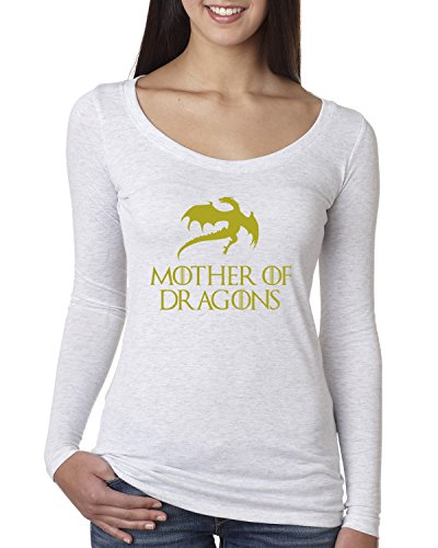 Gold Mother Of Dragons GOT Women's Scoop Long Sleeve Top Women's Scoop Long Sleeve Top - ( Medium, Heather White ) (Shirt White Dragon Gold)