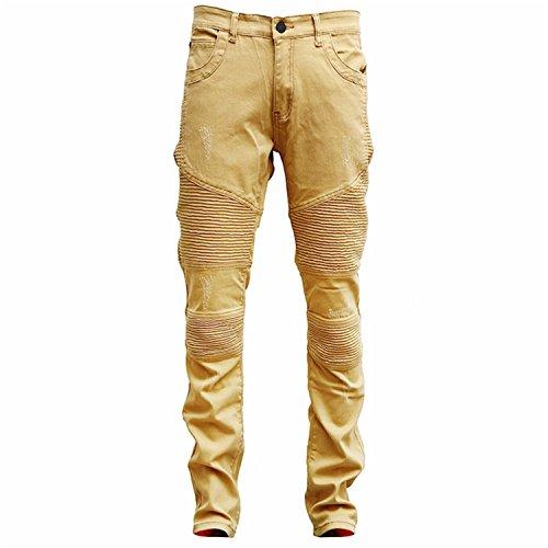 Robin Santiago Mens Soft Khaki Denim Distressed Masculina Men's Slim Long Pants Rock Ripped Biker Jeans Homme Style366 36 Homme Denim Pants