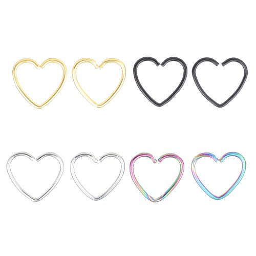 1/2' Double Hoop Earring - Fashion Piercing Jewelry Assorted 8pcs 16g 1/2'' Heart 316l Seamless Daith Cartilage Earring Hoop #21
