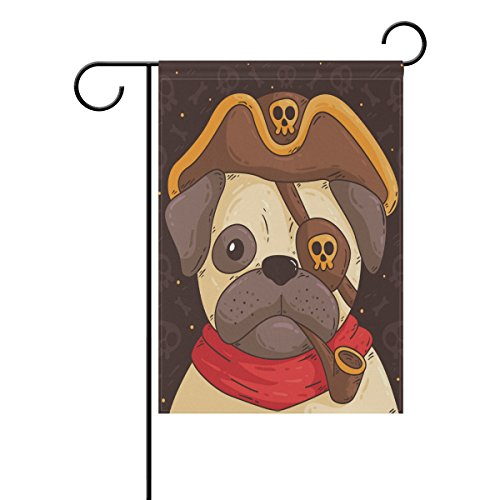 Blue Viper Cute Pug With Pirate Costume Garden Flag Waterproof Polyester Fabric and Mildew Resistant for Outdoor Lawn and Garden Double Side Print 12 x 18 (Patrick Pirate Costumes)
