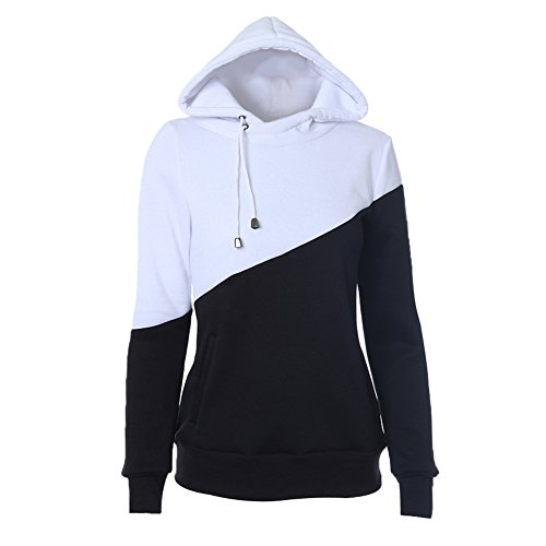 Star Fashion Black 2 Tone Sweatshirt Hoodies Unisex Pullovers Turn-down Collar-XL