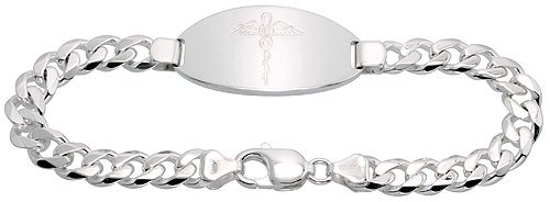 Gent's Sterling Silver Medical ID Bracelet, 13/16 inch wide NICKEL FREE, 8 inch by Sabrina Silver