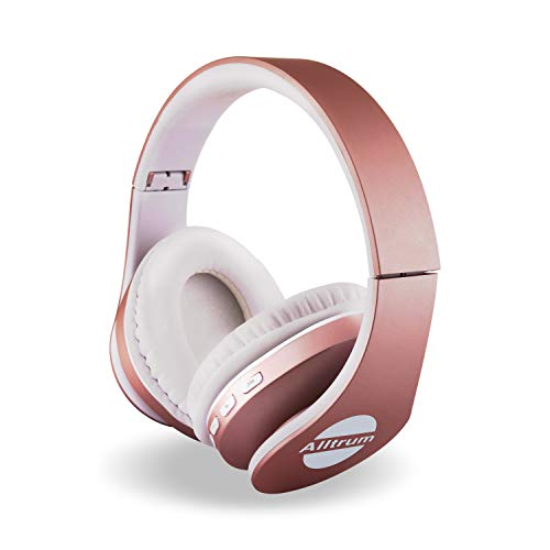 Alltrum Over-Ear Headphones,Hi-Fi Stereo Headset,Adjustable Headsets for Traveling/Sports/Relaxation,Foldable Headphones with Microphone and Music Playback for Most of Smartphones – White+Rosegold