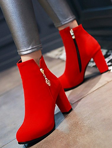Boots Shoes Womens High Aisun Heels Chunky High Side Zipper Tops Red Short Toe Elegant Round Dress Oqx6dqaH