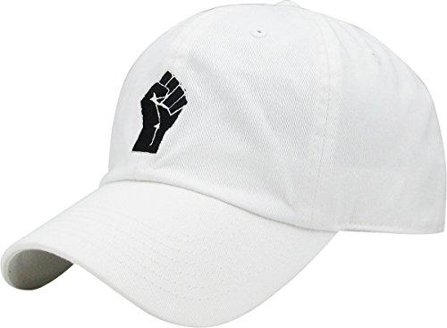 KBSV-029 WHT Fist Dad Hat Baseball Cap Polo Style Adjustable