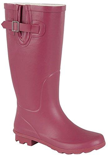 Mesdames bottes en caoutchouc, Festival, Pluie, neige, Coupe Large Mollet VOL Framboise Rose Bottes Wellington Bottes