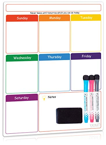 Magnetic Dry Erase Weekly Planner Board for Refrigerator by Yes4Quality | Weekly Whiteboard Calendar w/Stain Resistant Technology | for Family Home Office Fridge Use | 3 Markers amp Eraser Included