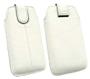 Emartbuy ® White Pu Cuero Slide Con Seguridad En La Bolsa / Caja / Manga / Soporte (Tamaño 1) Con Mecanismo Pull Tab Apto Para Samsung I9000 Galaxy S