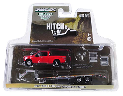 2017 Ford F-150 Pickup Truck Red with Gooseneck Trailer Hitch & Tow Series 1/64 Diecast Models by Greenlight 32151