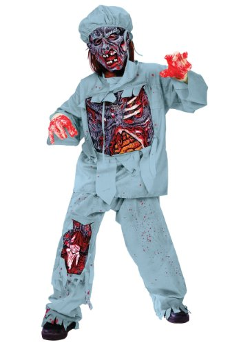 Scary Dentist Halloween Costume (Fun World Zombie Doctor Costume, Large 12 - 14,)