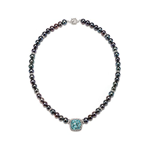 ARIVA'S FRESHWATER CULTURED PEACOCK PEARL AND APATITE NECKLACE WITH STERLING SILVER!