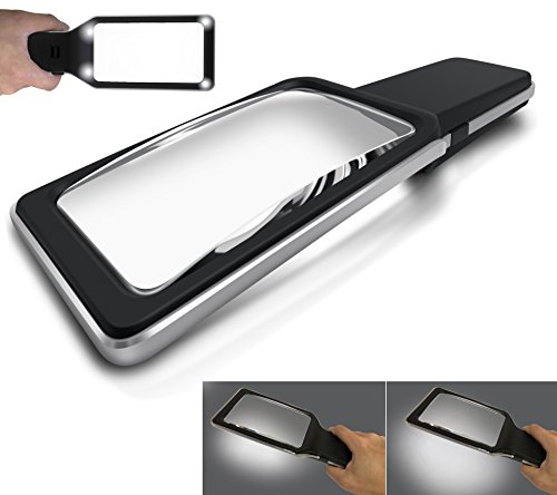 MagniPros 3X Large Wide Horizontal Handheld Magnifying Glass with 4 Ultra Bright Built-in LED Lights & 2 Adjustable (Ultra Light Reading Glasses)