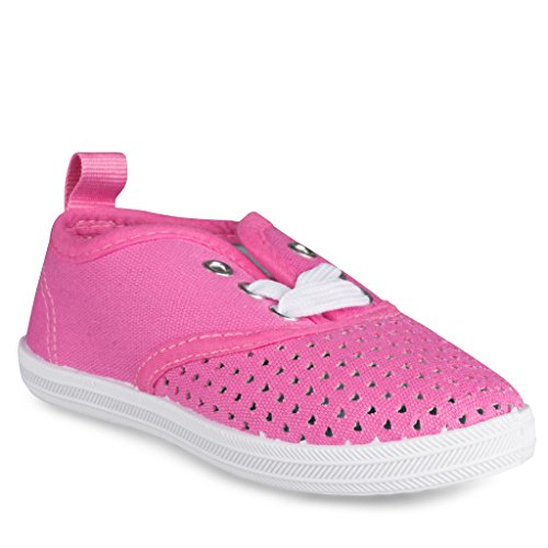 [SBK104-PINK-T5] Girls Canvas Sneakers: Lace-Up Tennis Shoes, Toddler Size (Baby Spice Shoes)