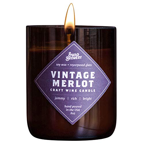 (Swag Brewery Vintage Merlot Wine Candle - Makes a Great Wine Gift, Gift for Mom, Unique Wine Bottle Candle, Pinot Noir, Bordeaux, Cabernet, Syrah, Malbec, Chardonnay, LushMADE in)