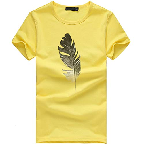 T Shirts for Women Plus Size Women Loose Casual Blouse Short Sleeve Leaf Print T-Shirt O-Neck Top Yellow (Volleyball Yellow T-shirt)