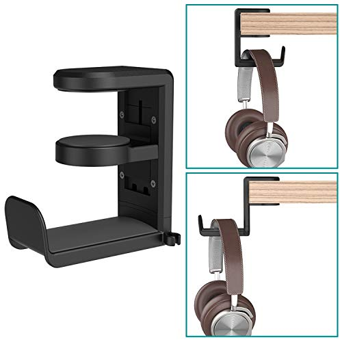 (Headset Headphone Hanger Under Desk Swivel Hook, Spring Clamp (No Adhesive Required) Klearlook Universal PC Gaming Headset Earphone Display Stand Holder Table Mount Built-in Cord Clip Organizer)