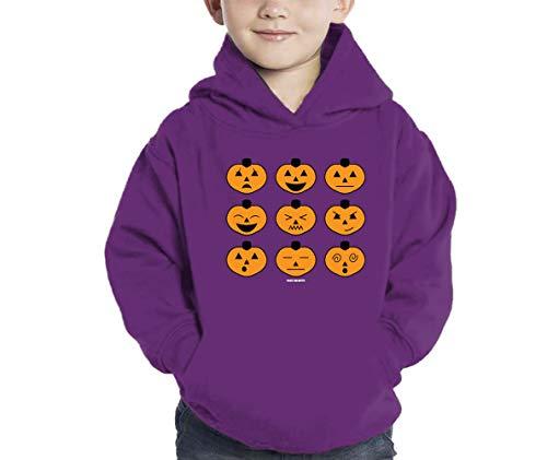 Halloween Pumpkin Icons Hoodie Sweatshirt (Purple, 5\6) -