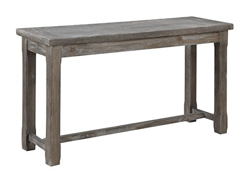 Rustic Charcoal Gray Sofa Table with Plank Style Top And Farmhouse Timber Legs ()