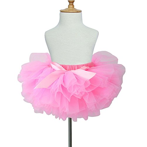 TRADERPLUS Baby Girls Chiffon Pettiskirts Tutu Tulle Skirt Toddler Newborn Costume Bow-Knot Dress with Underskirt (Pink, Large 12-24 Months) Beautiful Baby Lace Skirt