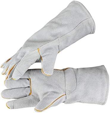 """労働保護作業用手袋 ワークレザーグローブ暖かくてビロードの耐久性のある長い保護手袋、13"""" (Color : White, Size : L)"""