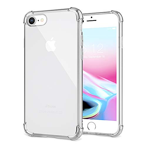 Phone Case Compatible with iPhone 8 iPhone 7 Case, Slim Clear Soft TPU Cover Crystal Clear Cases Non-Slip [Support Wireless Charging]