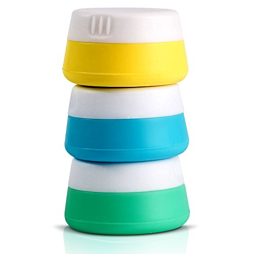 Travel Jars Cosmetic Containers, Perfect Compact Sample Size Silicone Travel Container for Makeup, Lotion, Cream Etc, Superior Quality Empty Jar (Small Plastic Containers With Screw On Lids)