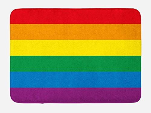 "Ambesonne Pride Bath Mat, Horizontal Rainbow Colored Flag of Gay Parade Freedom Equality Love Passion Theme, Plush Bathroom Decor Mat with Non Slip Backing, 29.5"" X 17.5"", Rainbow"