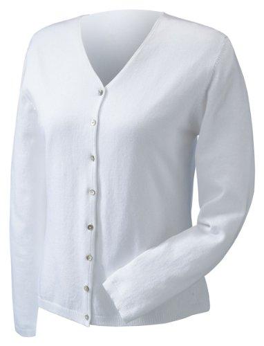 Devon & Jones Pink Women's Stretch Everyday Cardigan Sweater DP450W white (Devon & Jones Nylon Sweater)
