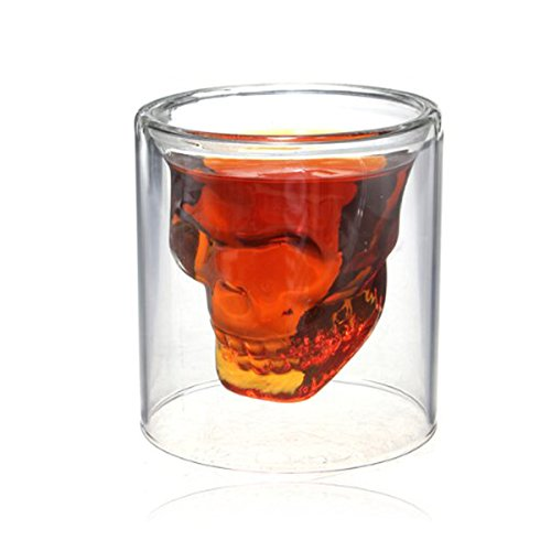 Crystal Skull Shotglass,1PCS 2.5oz(75ml) Skull Glass Cup,Double Layer - Cheap Whiskey Glasses