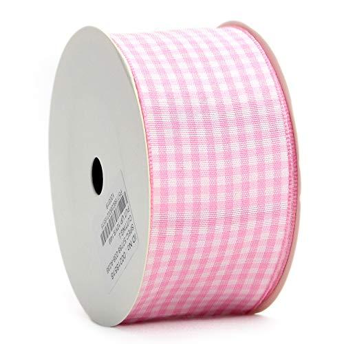 (Midi Ribbon Pink Gingham Woven Edge Ribbon, 1-1/2