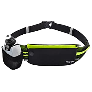 Hydration Belt, iTECHOR Sports Running Belt Waterproof Adjustable Band Fits iPhone6/6s with Water Bottle Holder for Walking /Hiking /Riding bicycle(Black)
