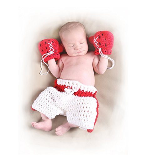 Baby Boxing Gloves Costume (Newborn Baby Photography Outifts Props, Infant Crochet Boxer Boxing Gloves)