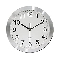 VSENCE Silent Non-ticking Wall Clock Aluminum Frame Home Kitchen/Living Room Decorations 10 Inches (Silver)
