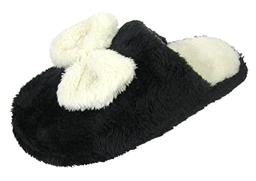 Coolers Womens Faux Fur and Bow Tie Design Mule Slippers Black DQi2Zg