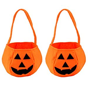 LIOOBO 2pcs Halloween Pumpkin Bags Trick or Treat Bags Candy Buckets Halloween Party Favors Gifts (Orange) 20x28cm