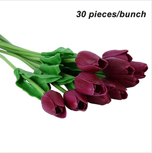 Umiwe 10/30Pcs PU Fake Artificial Silk Tulips Flores Artificiales Bouquets Party Artificial Flowers For Home Wedding Decoration 30pcs Wine Red