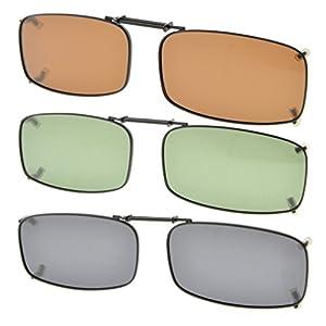 "Eyekepper Grey/Brown/G15 Lens 3-pack Clip-on Polarized Sunglasses 2 1/4"" x1 3/16"""