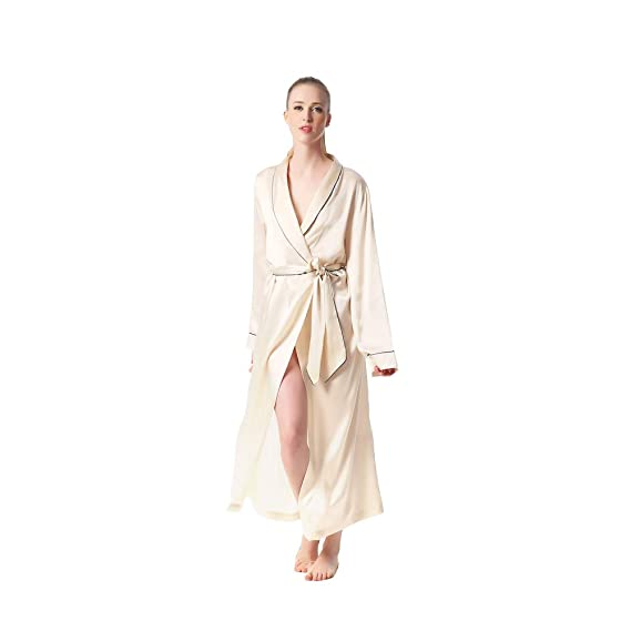 fccd857d08 JASMINE SILK Luxury Pure Silk Dressing Gown Robe Kimono Nude ...   Amazon.co.uk  Clothing