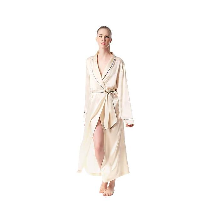 553d30783 JASMINE SILK Luxury Pure Silk Dressing Gown Robe Kimono Nude ...   Amazon.co.uk  Clothing