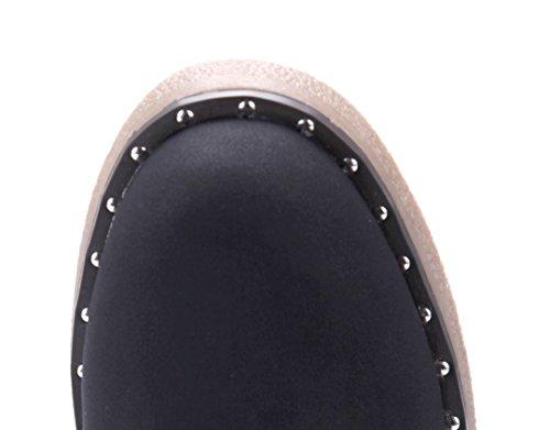Schuhtempel24 Damen Schuhe Boots Stiefel Stiefeletten Blockabsatz Nieten 3 cm Schwarz