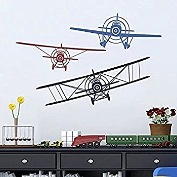 Wall Decal Decor 3 Airplanes Wall Decal   Wall Decals Nursery Boy Biplane  Monoplane Wall Decal