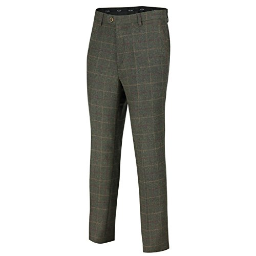 Mod Suit Trousers (XPOSED Mens Tweed Trousers Vintage Herringbone Checks Slim Fit Grey Brown Green MOD Retro Suit Pants [Olive Green,Waist 32])
