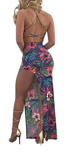 Split Skirt Bandage Tank Set Summer Womens Pieces Sexy Floral 2 1 Dress Top Club Antique Outfits Color Summer Style AqP4w4