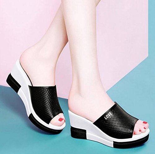 sandals Sandals Size female sandals Fashion A Summer heeled high Thick 34 Color slope with slippers soles Flat B Fashion sandals Elegant qUOxwSPU1