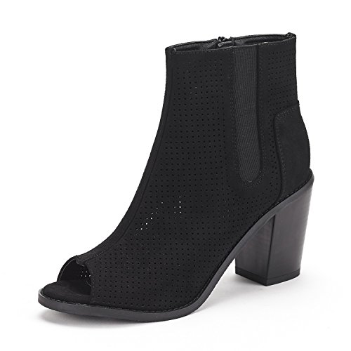 DREAM PAIRS Women's Reuters Black Peep Toe Ankle Booties Shoes - 10 M ()
