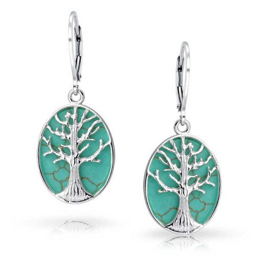 Lapis Sterling Silver Natural Turquoise Abalone Mother-of-Pearl Stone Tree of Life Oval Pendant with 18 Thick Chain