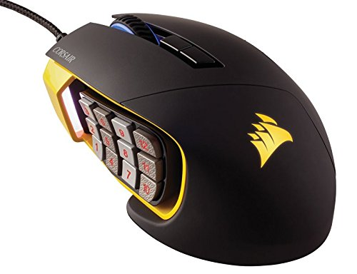 Corsair Gaming SCIMITAR RGB MOBA/MMO Gaming Mouse, Key Slider Mechanical Buttons, 12000 DPI, Yellow