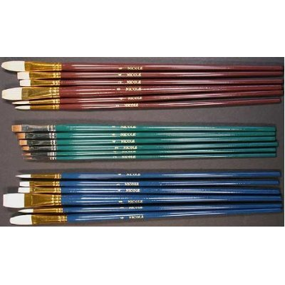 18 Fine Art Paint Brushes for Acrylic, Oil, Watercolors -Long Handles Darice SB9551